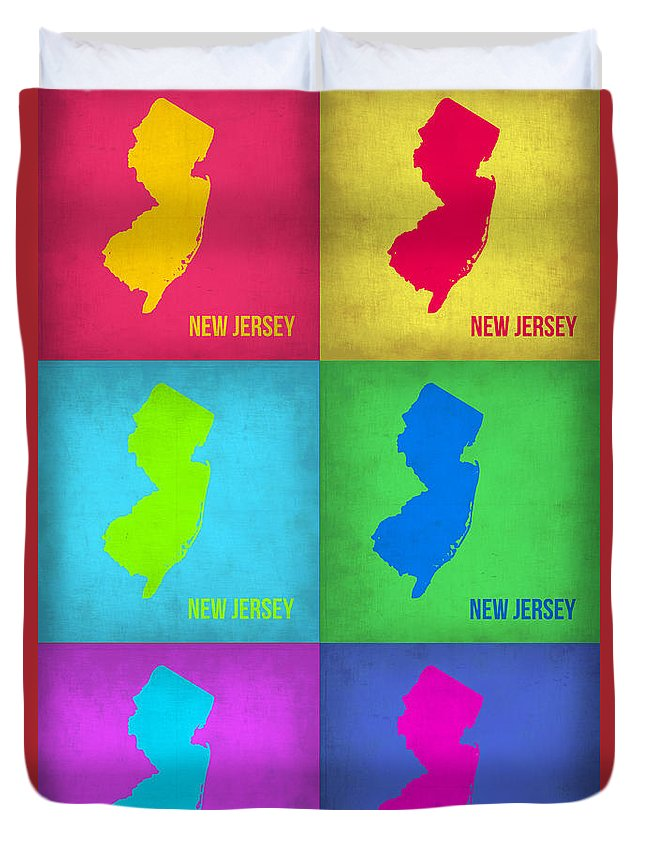 New Jersey Map Duvet Cover featuring the painting New Jersey Pop Art Map 1 by Naxart Studio