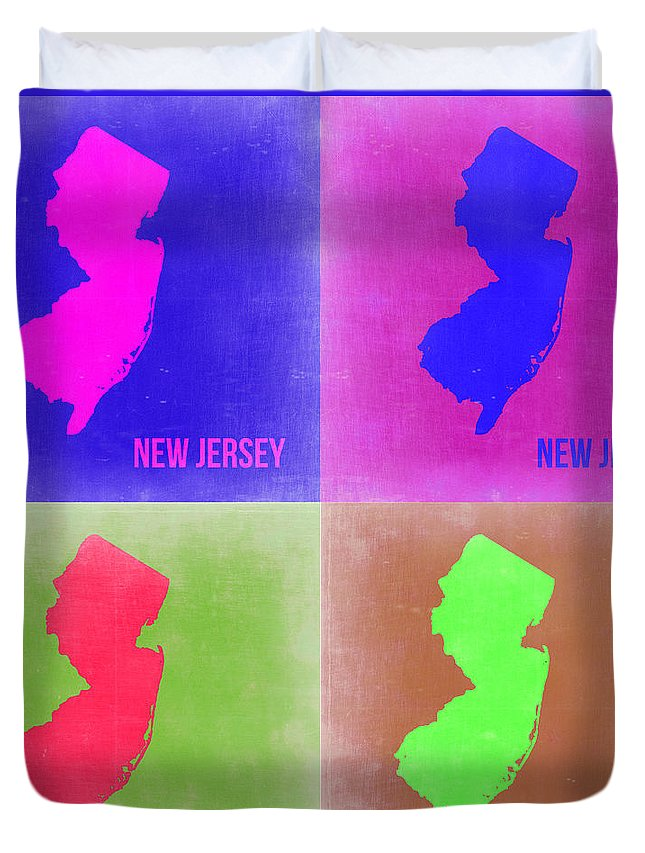 New Jersey Map Duvet Cover featuring the painting New Jersey Pop Art Map 2 by Naxart Studio