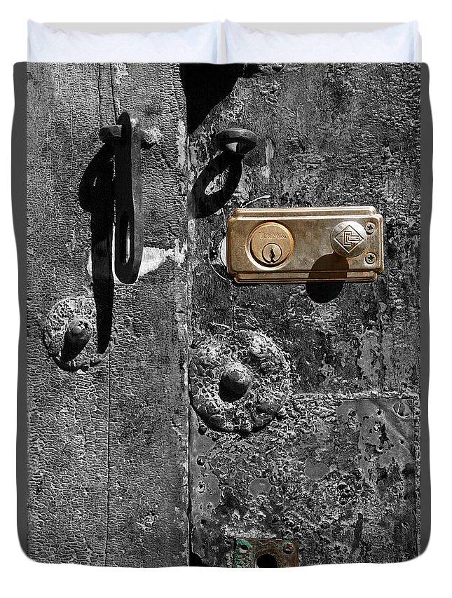 Door Duvet Cover featuring the photograph New Lock On Old Door 1 by James Brunker