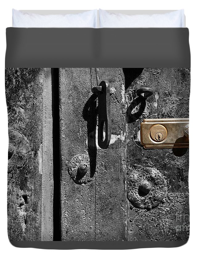 Still Life Duvet Cover featuring the photograph New Lock On Old Door 2 by James Brunker