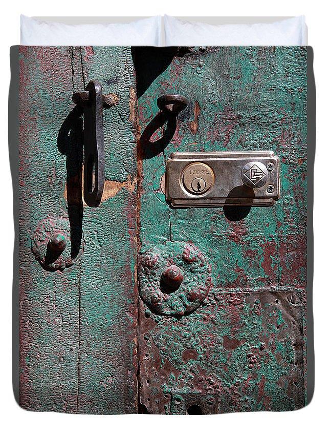 Door Duvet Cover featuring the photograph New Lock On Old Door 3 by James Brunker