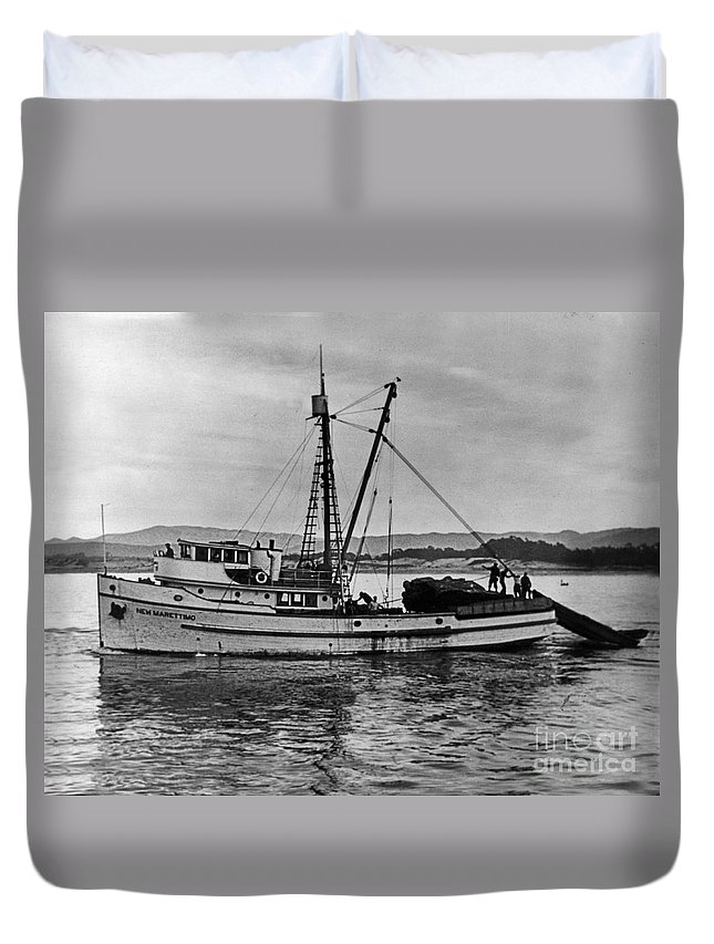 New Marretimo Duvet Cover featuring the photograph New Marretimo Purse Seiner Monterey Bay Circa 1947 by California Views Archives Mr Pat Hathaway Archives