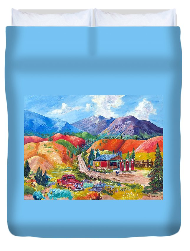 Acrylic Duvet Cover featuring the painting New Mexico Colors by Judy Hopkins