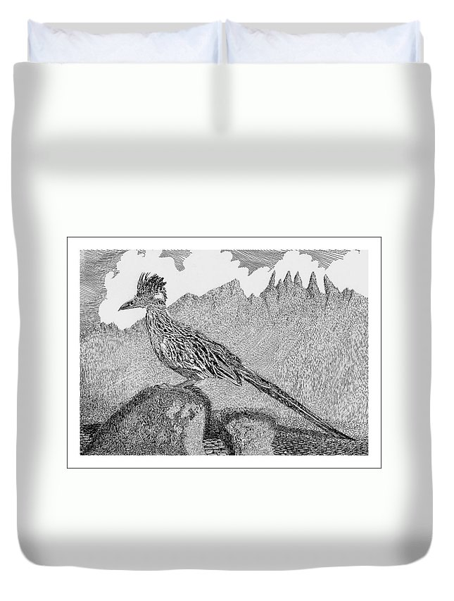 Organ Mountains-desert Peaks National Monument Duvet Cover featuring the drawing New Mexico Roadrunner by Jack Pumphrey