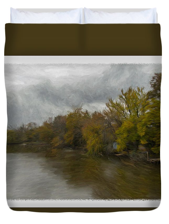 New Milford Duvet Cover featuring the photograph New Milford By Water Side by Jorge Perez - BlueBeardImagery