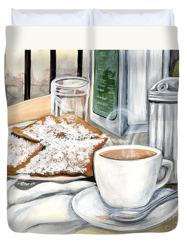 New Orleans Duvet Cover featuring the painting New Orleans Cafe Du Monde by Elaine Hodges