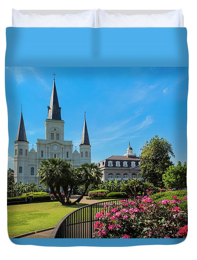 Built Structure Duvet Cover featuring the photograph New Orleans Jackson Square And Saint by Drnadig