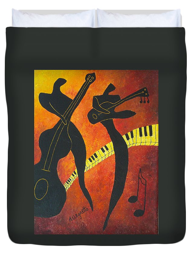 Allegretto Art Duvet Cover featuring the painting New Orleans Jazz by Pamela Allegretto