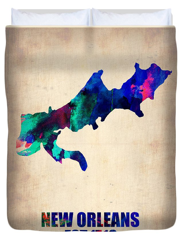 New Orleans Duvet Cover featuring the painting New Orleans Watercolor Map by Naxart Studio