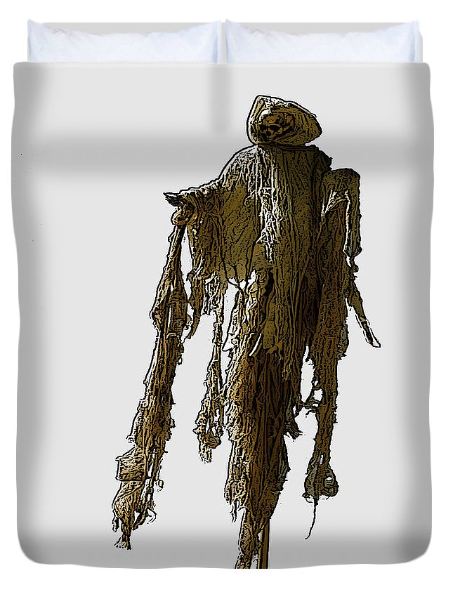Death Duvet Cover featuring the photograph New Photographic Art Print For Sale  Day Of The Dead Skeleton On A Stick by Toula Mavridou-Messer