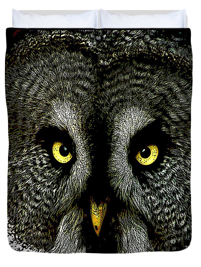 Beak Duvet Cover featuring the photograph New Photographic Art Print For Sale  Great Grey Owl by Toula Mavridou-Messer