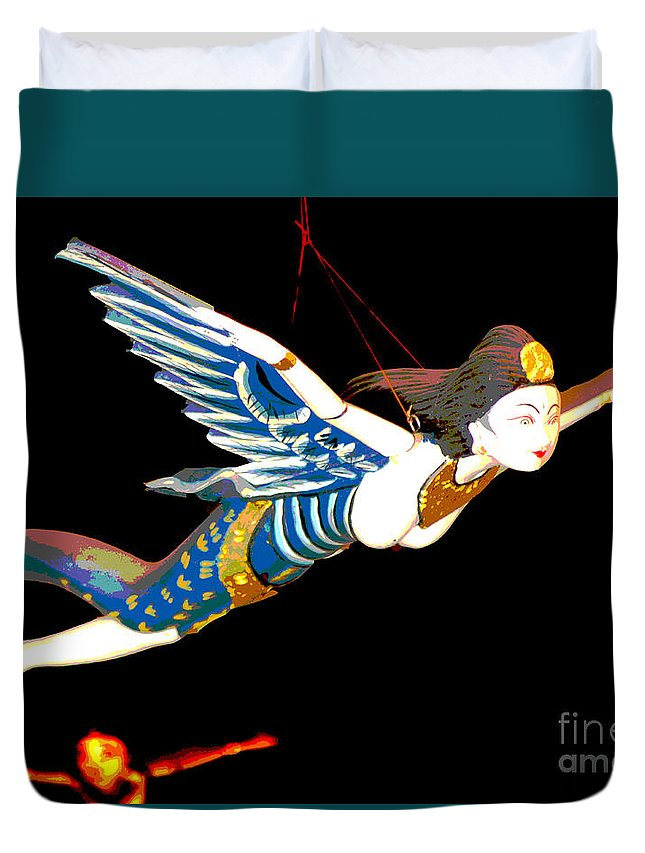Colour Duvet Cover featuring the photograph Iconic London Camden Puppets The Flying Princesses by Toula Mavridou-Messer