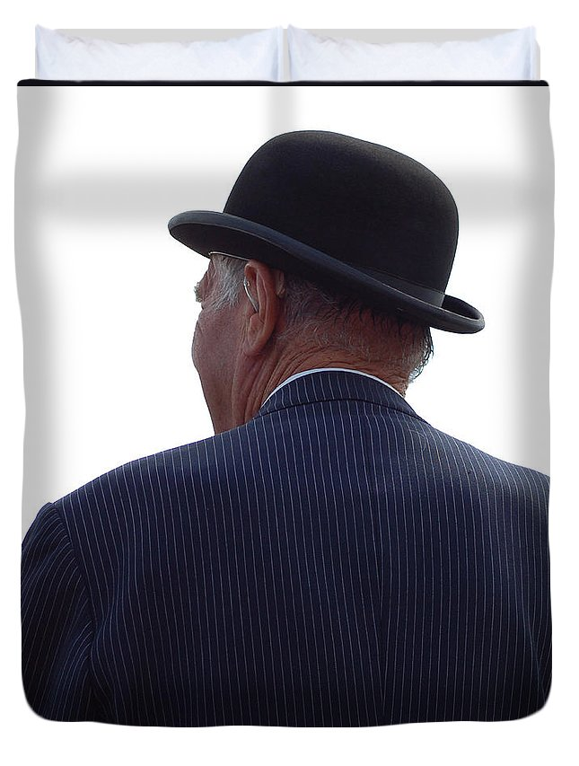 Gentleman Duvet Cover featuring the photograph New Photographic Art Print For Sale  Iconic London Man In Bowler Hat by Toula Mavridou-Messer