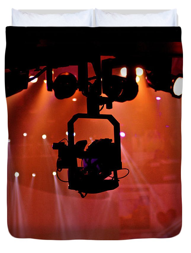 Lights Duvet Cover featuring the photograph New Photographic Art Print For Sale Lights Camera Action Backstage At The American Music Award by Toula Mavridou-Messer
