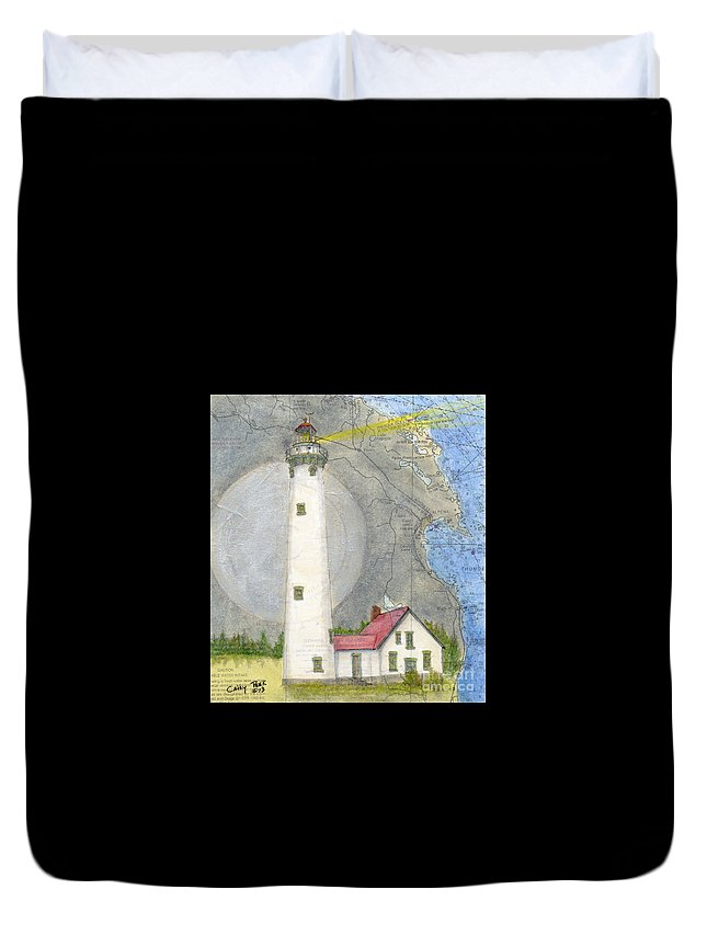 New Duvet Cover featuring the painting New Presque Isle Lighthouse Mi Nautical Chart Map Art by Cathy Peek