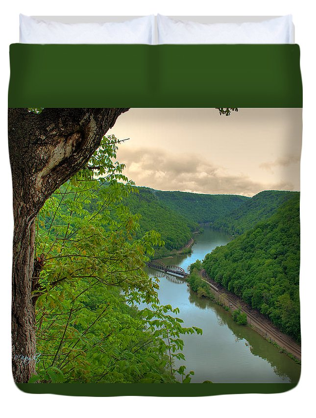 Featured Art Duvet Cover featuring the photograph New River Railroad Bridge At Hawk's Nest by Paulette B Wright