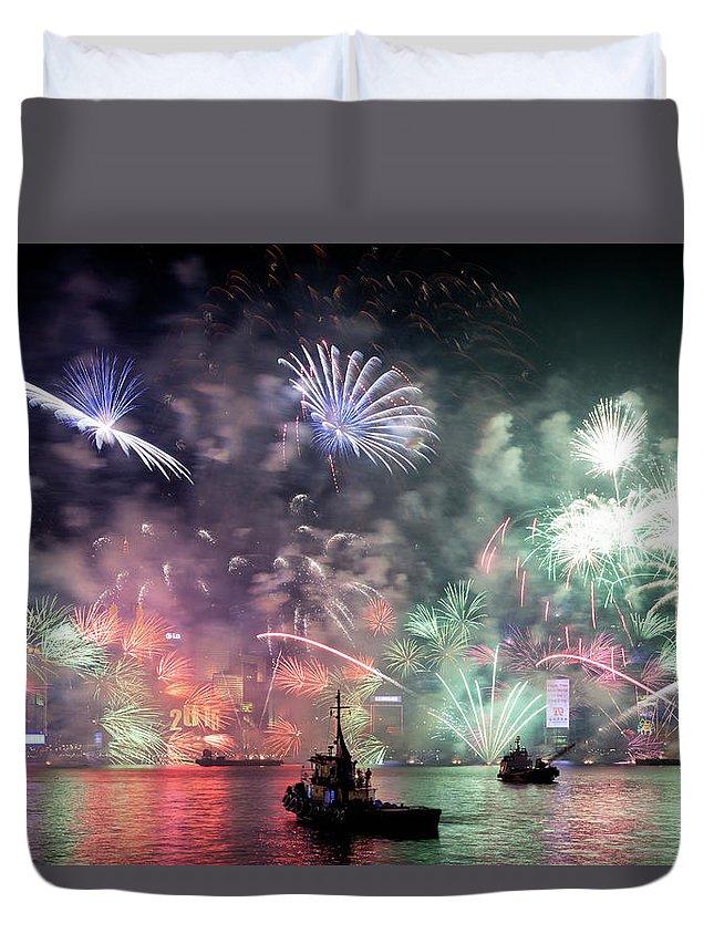 Firework Display Duvet Cover featuring the photograph New Year Fireworks Hong Kong Asia by Steffen Schnur