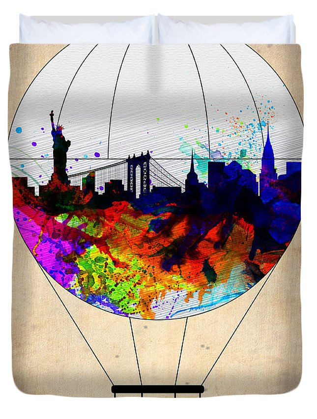 New York Duvet Cover featuring the painting New York Air Balloon by Naxart Studio
