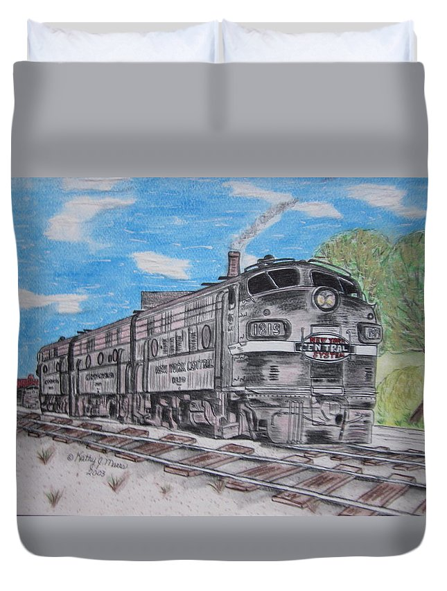 New York Duvet Cover featuring the painting New York Central Train by Kathy Marrs Chandler