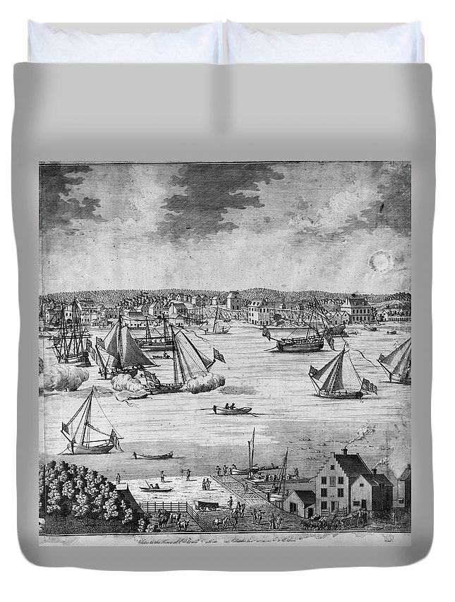 1717 Duvet Cover featuring the painting New York City, 1717 by Granger