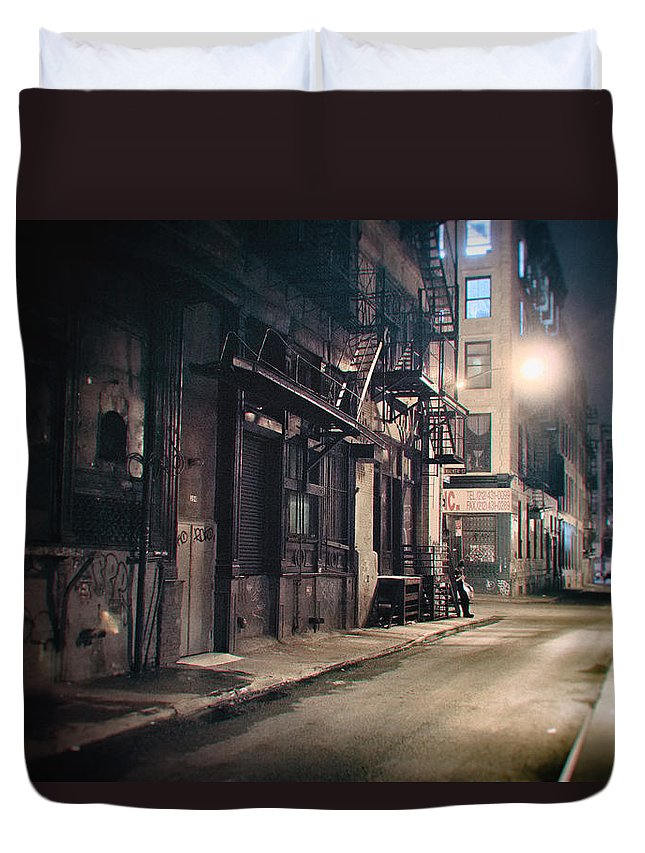 Nyc Duvet Cover featuring the photograph New York City Alley At Night by Vivienne Gucwa