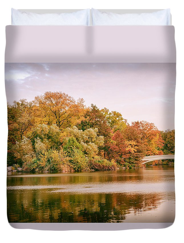 Nyc Duvet Cover featuring the photograph New York City - Autumn - Central Park - Lake And Bow Bridge by Vivienne Gucwa