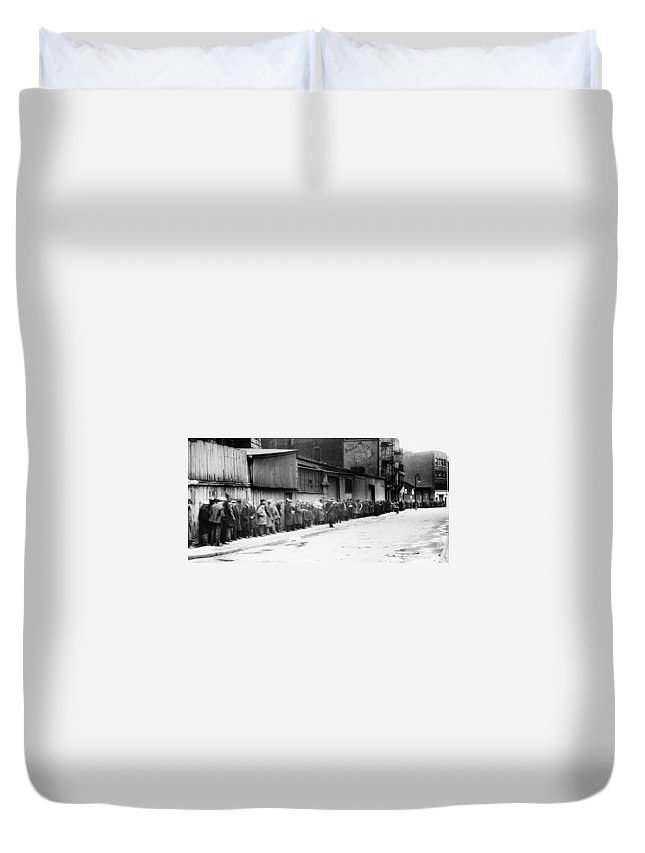 1930 Duvet Cover featuring the photograph New York City Bread Line by Granger