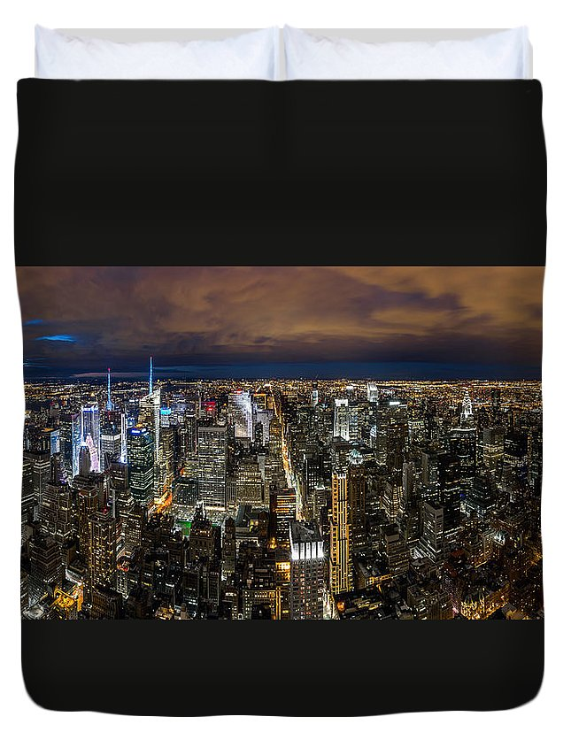 Downtown Duvet Cover featuring the photograph New York City By Night by Mihai Andritoiu