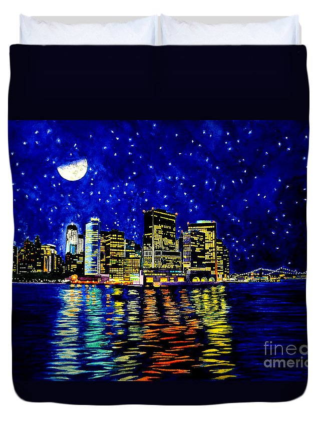 New York City Duvet Cover featuring the painting New York City Lower Manhattan by Christopher Shellhammer