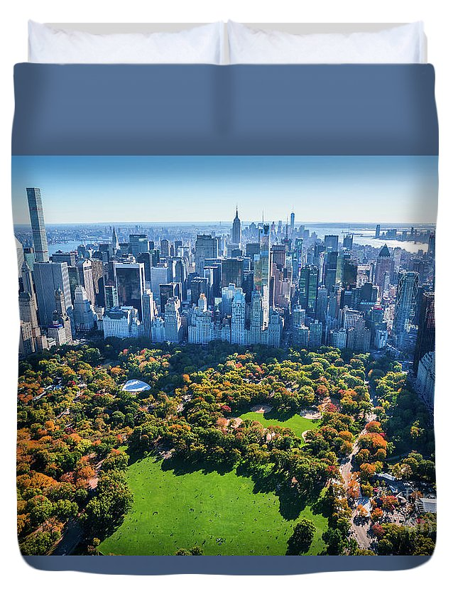 Central Park Duvet Cover featuring the photograph New York City Skyline, Central Park by Dszc