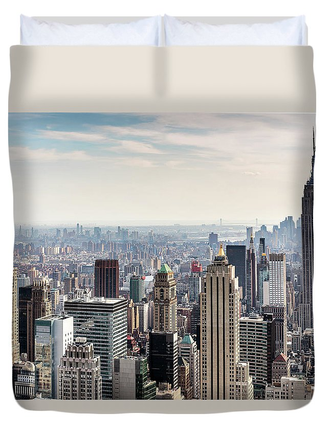 Scenics Duvet Cover featuring the photograph New York City Skyline by Denise Panyik-dale