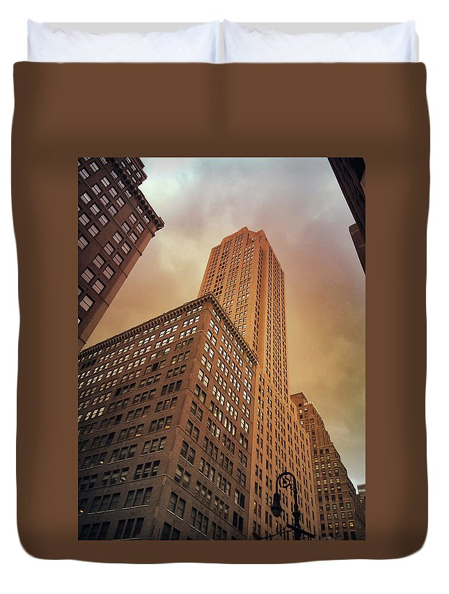 Nyc Duvet Cover featuring the photograph New York City - Skyscraper And Storm Clouds by Vivienne Gucwa