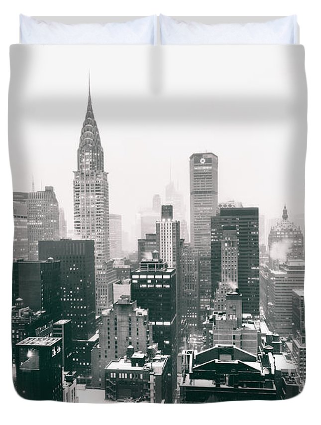 Nyc Duvet Cover featuring the photograph New York City - Snow-covered Skyline by Vivienne Gucwa