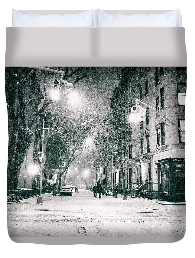 Nyc Duvet Cover featuring the photograph New York City - Winter Night In The West Village by Vivienne Gucwa