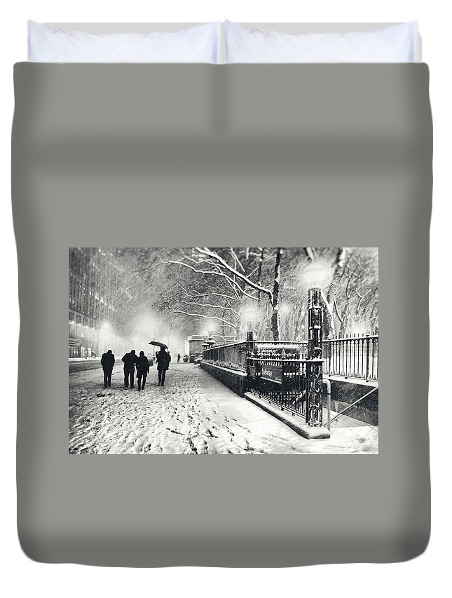 New York City Duvet Cover featuring the photograph New York City - Winter - Snow At Night by Vivienne Gucwa