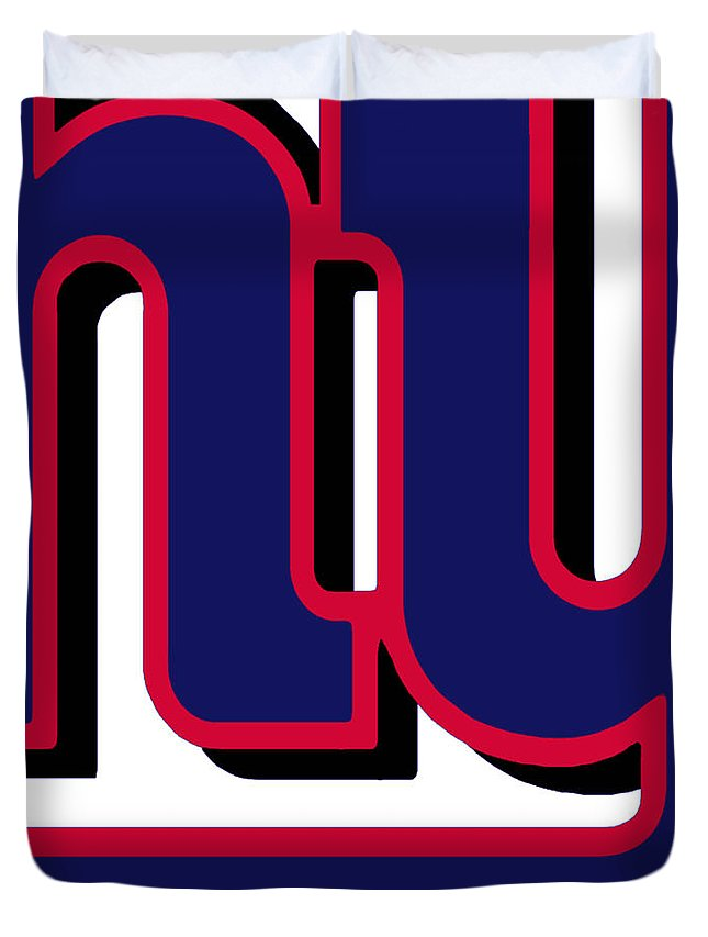 New York Duvet Cover featuring the painting New York Giants Football 2 by Tony Rubino