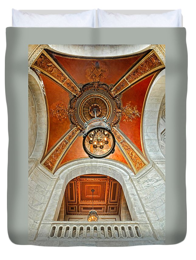 New York Public Library Duvet Cover featuring the photograph New York Public Library Ornate Ceiling by Dave Mills