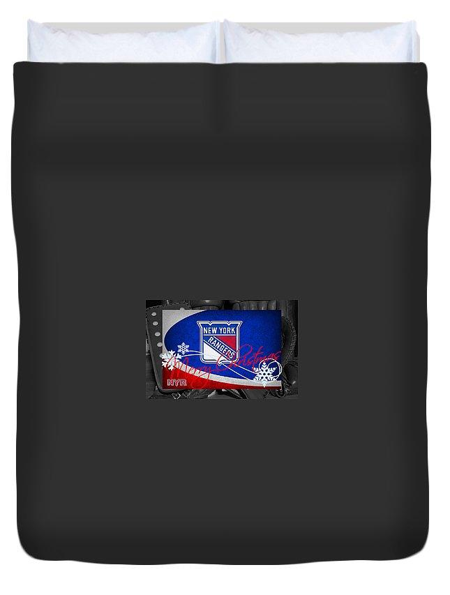 Rangers Duvet Cover featuring the photograph New York Rangers Christmas by Joe Hamilton