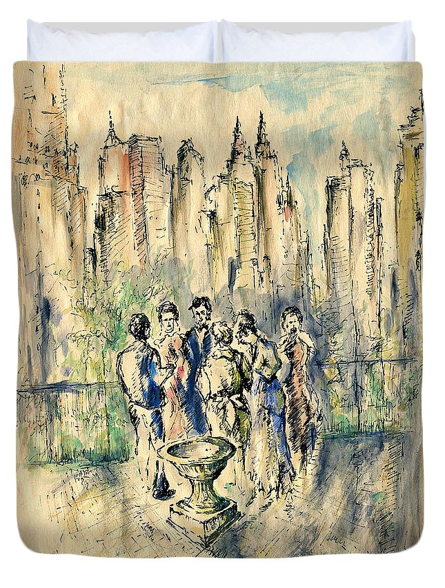 New+york Duvet Cover featuring the drawing New York Roof Party - Watercolor Ink by Peter Potter