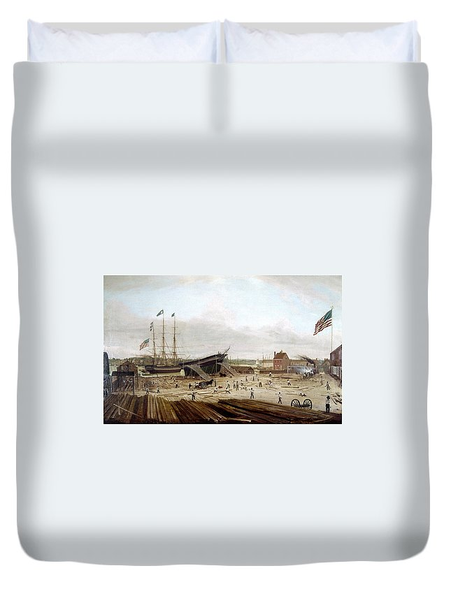 1833 Duvet Cover featuring the painting New York Shipyard, 1833 by Granger