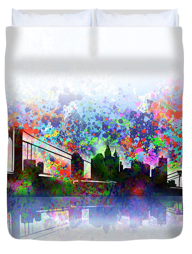 New York Duvet Cover featuring the painting New York Skyline Splats 2 by Bekim M