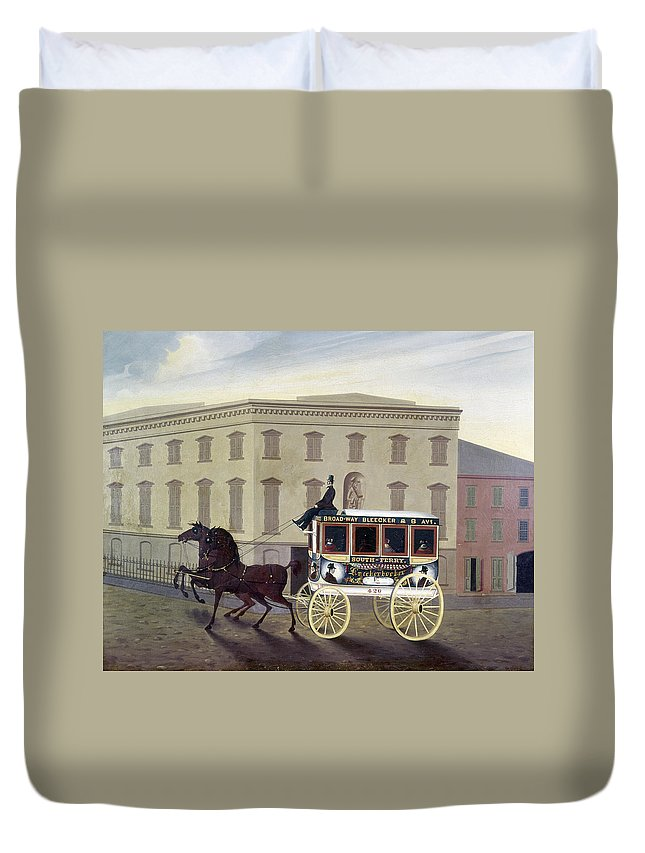 19th Century Duvet Cover featuring the painting New York Stagecoach by Granger