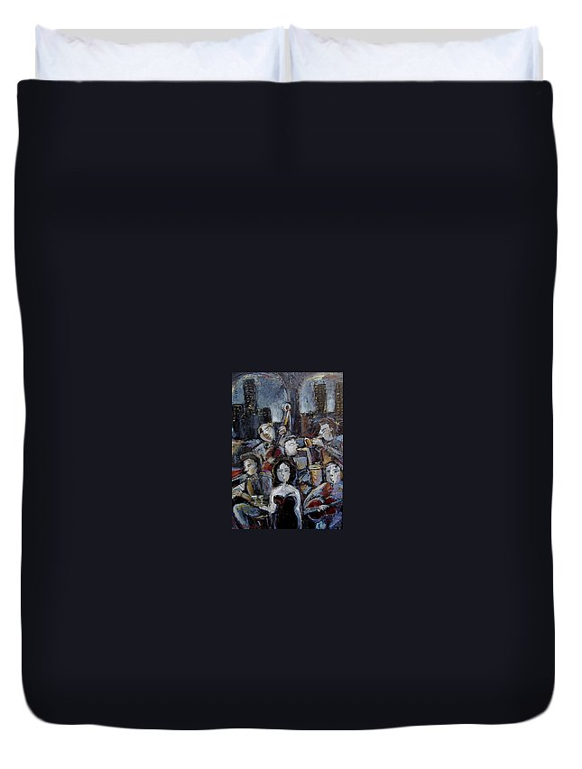 Moody Jazz Bar Duvet Cover featuring the mixed media New York State Of Mind by Gerry High