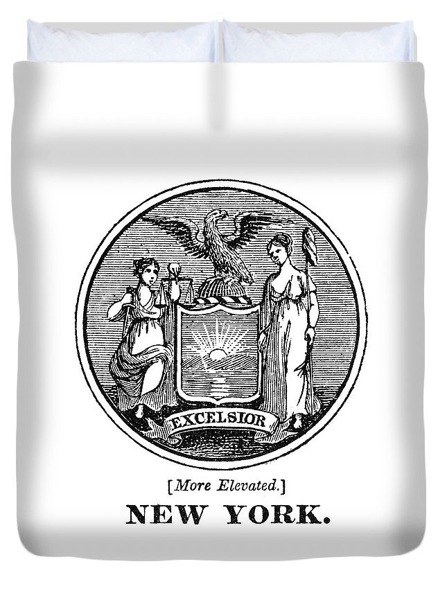 18th Century Duvet Cover featuring the painting New York State Seal by Granger