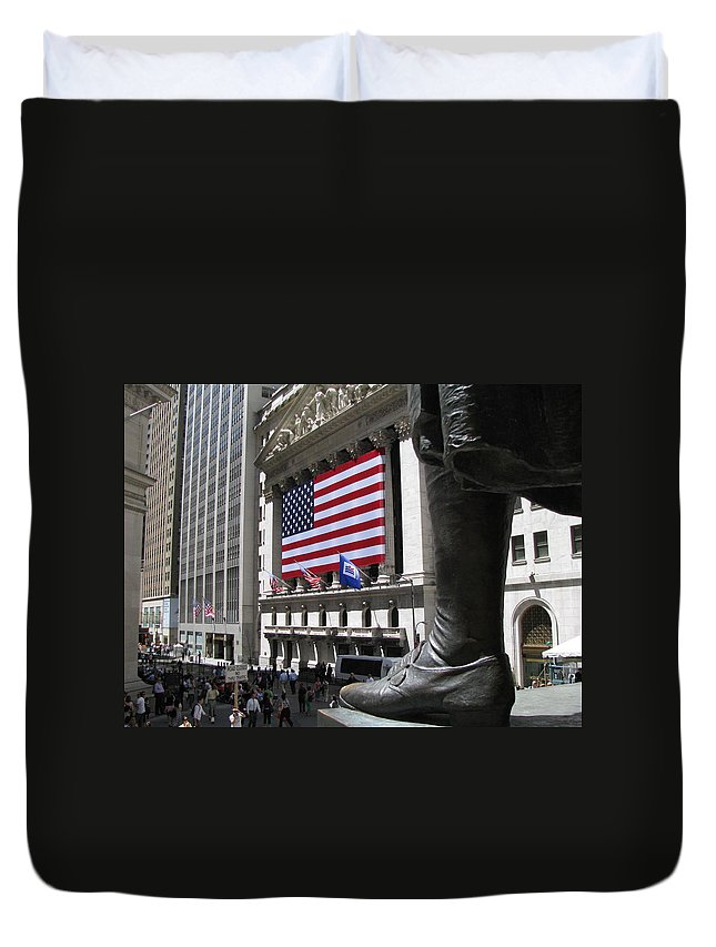 New York Duvet Cover featuring the photograph New York Stock Exchange by Jeff Watts