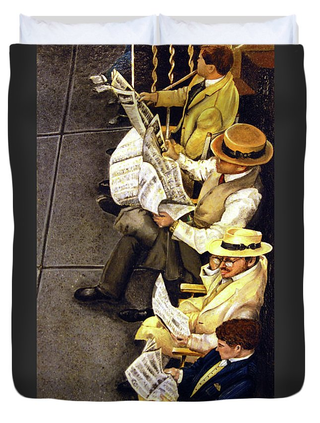 Newspaper Duvet Cover featuring the painting New York Times by Linda Simon