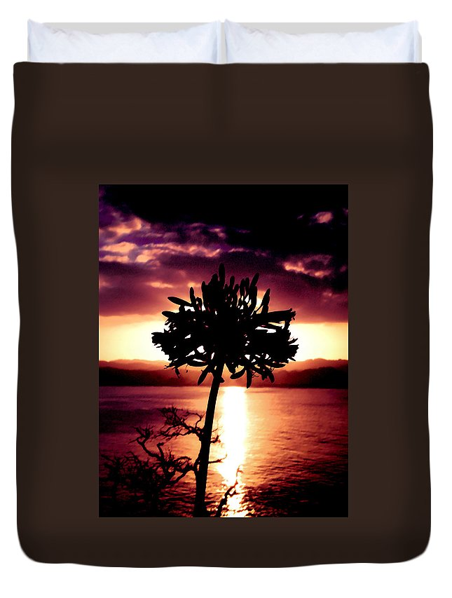 Flower Duvet Cover featuring the photograph New Zealand Flower Sunset by Geoff Campbell