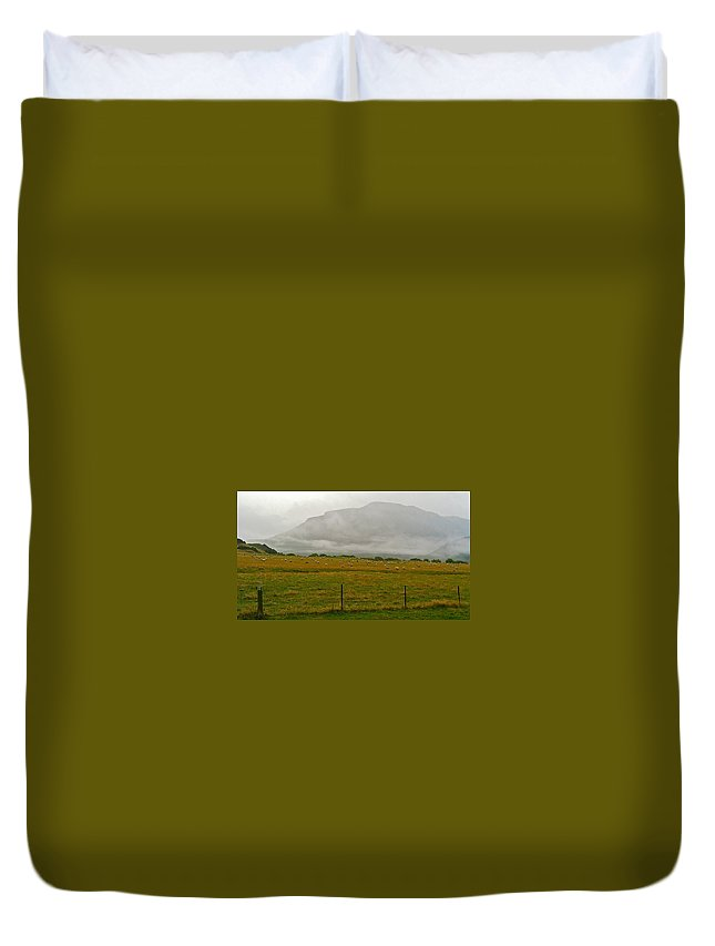 New Zealand Duvet Cover featuring the photograph New Zealand Sheep Farm by Stuart Litoff