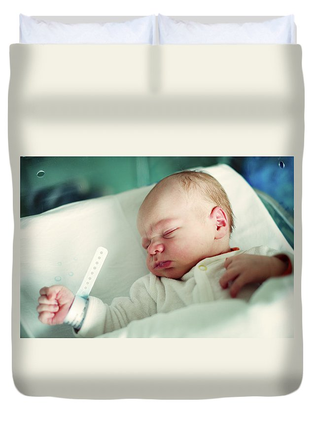 Tranquility Duvet Cover featuring the photograph Newborn Boy. First Day by Aleksandr Morozov