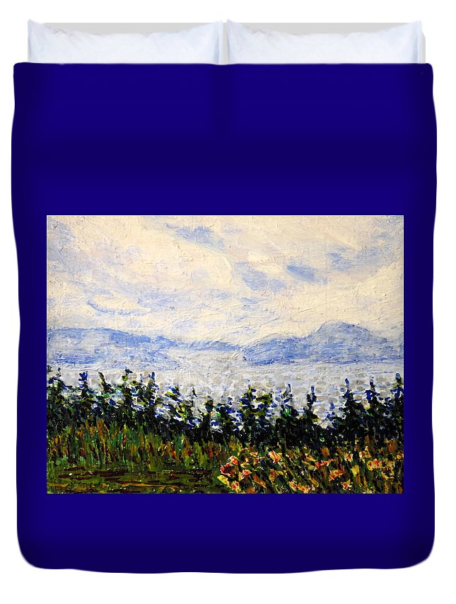Newfoundland Duvet Cover featuring the painting Newfoundland Up The West Coast by Ian MacDonald